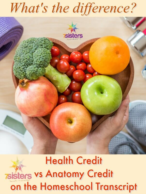 What's the Difference between Health and Anatomy Credits? Homeschool high schoolers need a Health credit for the transcript. It can be confusing trying to figure out how to earn that credit. Are Health texts and Anatomy texts the same thing? Here's an explanation of the differences to help you make good-fit choices for your teens' high school credits. #HomeschoolHighSchool #HomeschoolHealthCredits #DifferenceBetweenHealthandAnatomy #HomeschoolTranscript #7SistersHomeschool