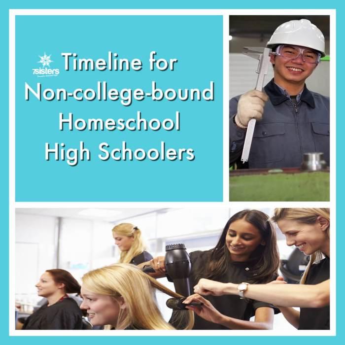 Timeline for Non-college-bound Homeschool High Schoolers 7SistersHomeschool.com