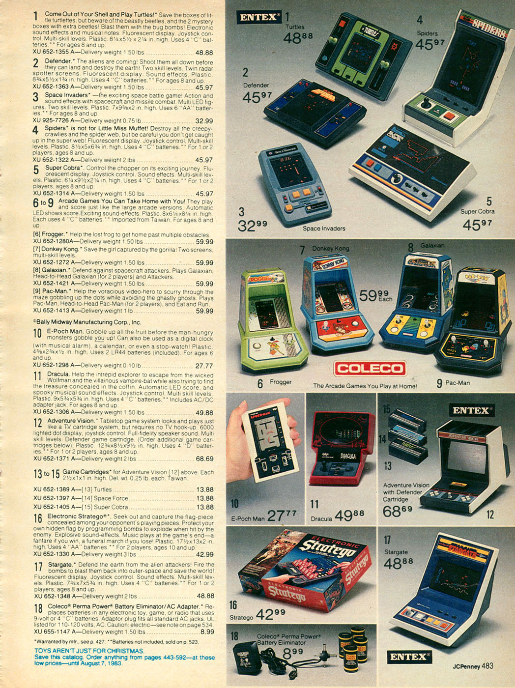 Retro Toys And VideoGames From The JC Penny Christmas Catalog 1982 JCPenny