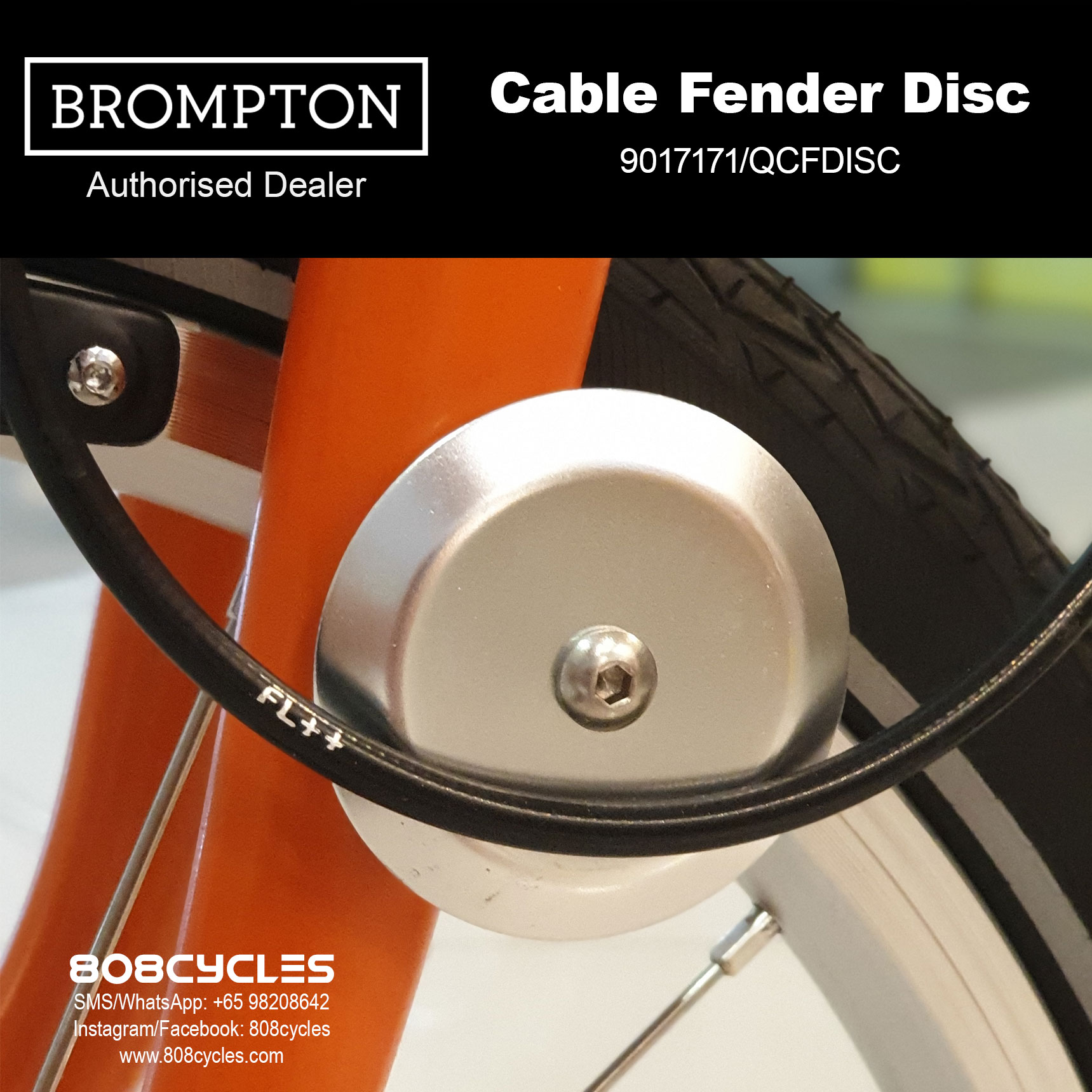 Brompton Cable Fender Disc For bikes without mudguards E Black Edition