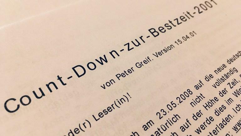 Der Countdown zur Bestzeit nach Peter Greif – Ein Selbstversuch