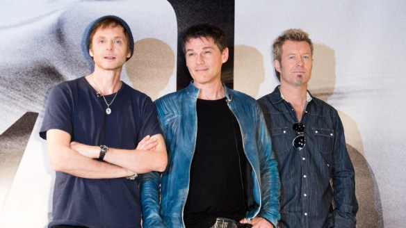 BERLIN, GERMANY - MARCH 25: Magne Furuholmen, Morten Harket and Paul Waaktaar-Savoy attend the 'A-ha has something to say' press conference at the Norwegian embassy on March 25, 2015 in Berlin, Germany. (Photo by Target Presse Agentur Gmbh/Getty Images)