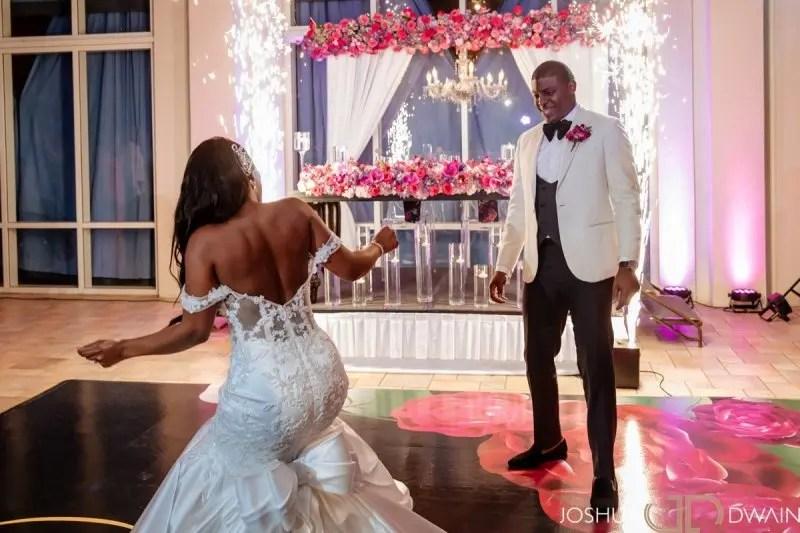 Hyatt Ziva & Zilaria - Bride dance in dress with Sparklers on vinyl printed dance floor