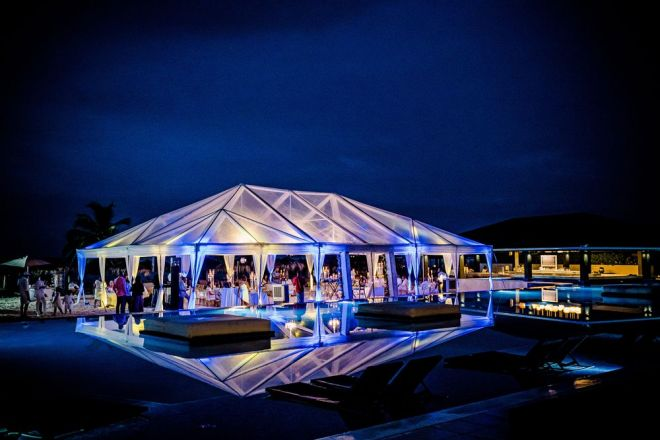 Wedding Tent uplighting by poolside - Royalton White Sands