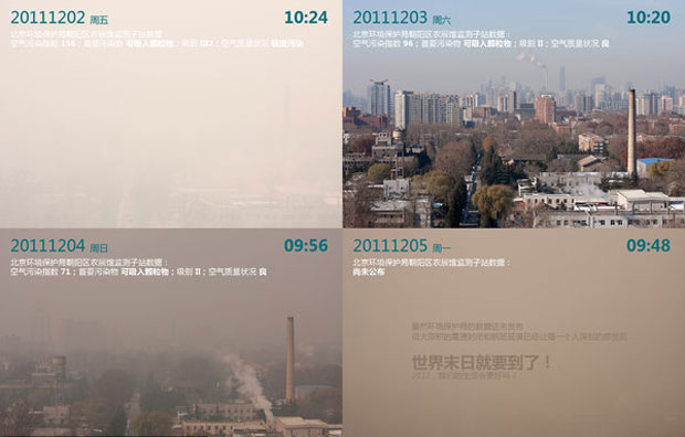 One netizen's photo post showed the air at different times of the day and week.