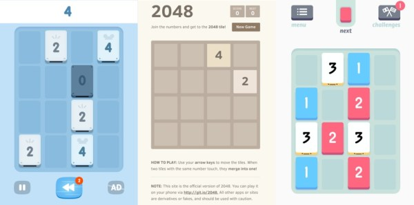 Giant Bomb compares 1024 with 2048 with Threes.