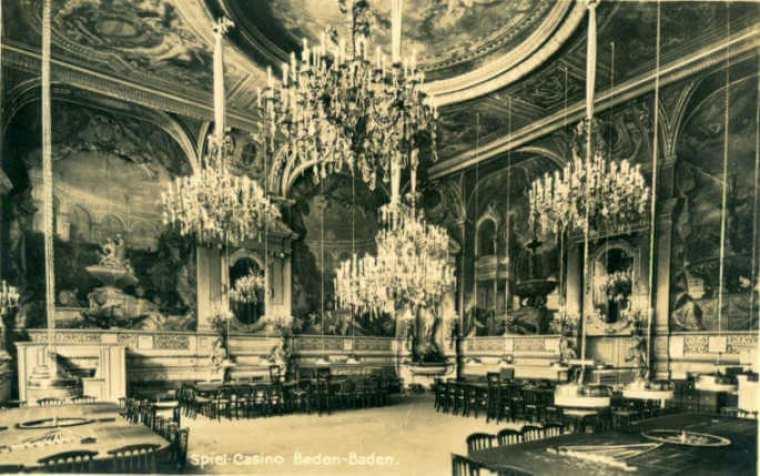 """Interior del Casino de Baden-Baden en el siglo XIX. Es el lugar donde Dovstoievsky se dejaría una auténtica fortuna. De sus experiencias surgiría su obra """"El jugador""""."""