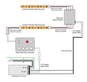 88Light  RGB LED Signal Amplifier wiring diagrams