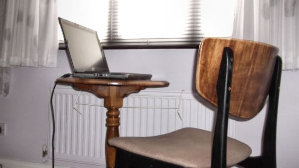 A laptop on a table