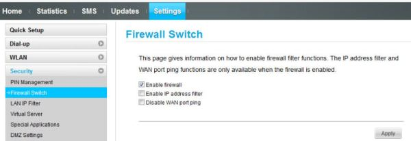 Security Enable Huawei E5331 Firewall
