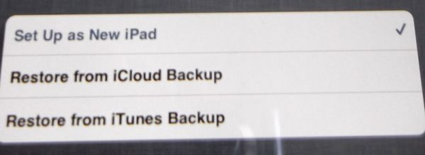 Set Up as New iPad