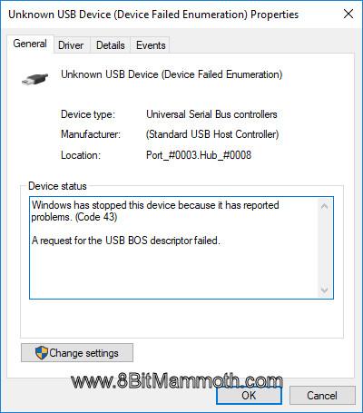 Code 43 A request for the USB BOS descriptor failed