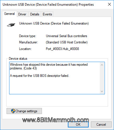 Code 43 A request for the USB BOS descriptor failed