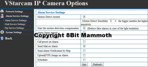 F6836W Webcam Alarm Settings