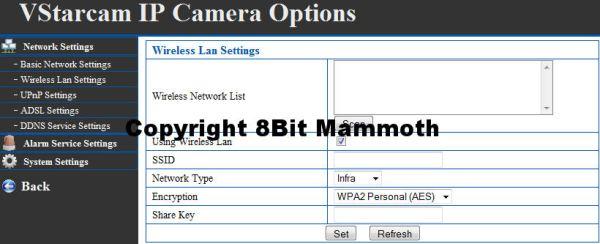 F6836W Webcam Wireless Settings