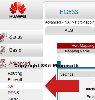 Huawei HG533 NAT