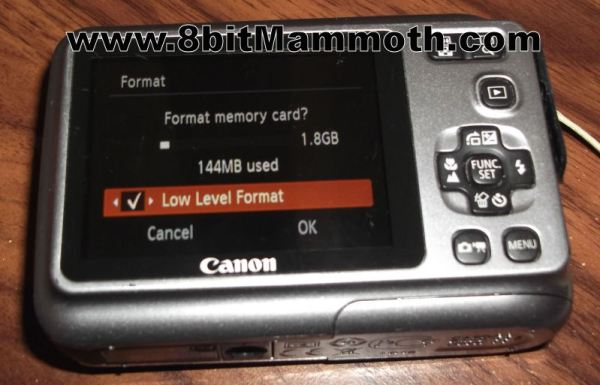 Canon PowerShot A490 Low Level Format