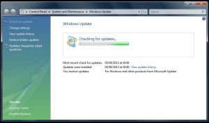 Microsoft Windows Vista Update Problem: Stuck Continuously Checking for updates (Solved)