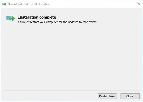 Windows Update Installation Complete