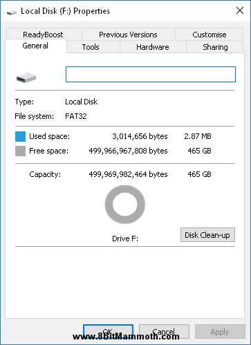 hard drive properties showing FAT32 partition