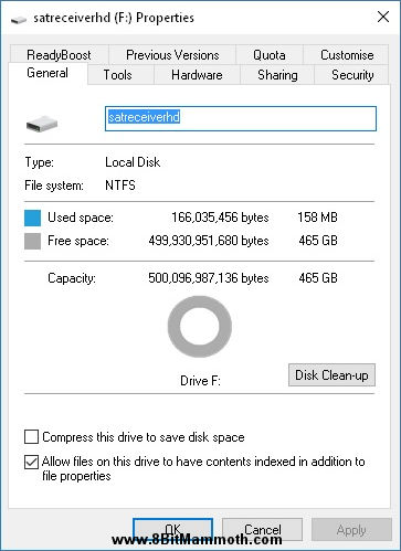 hard drive properties showing NTFS partition