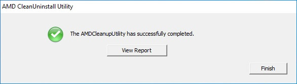 AMD CleanUninstall Utility successfully completed