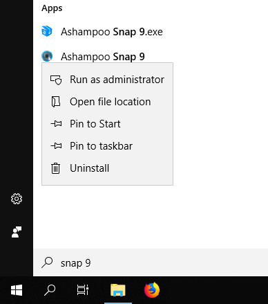 Ashampoo Snap 9 Run as administrator