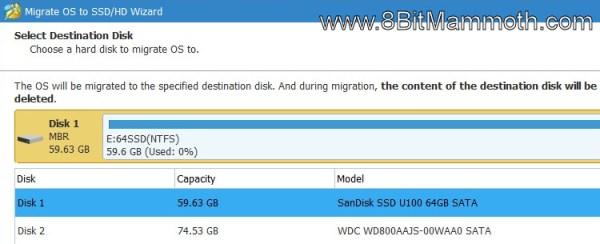 Select a destination disk
