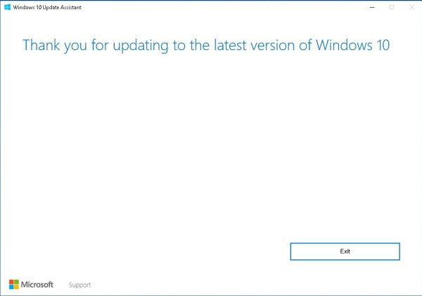 Windows 10 Update Assistant Thank you