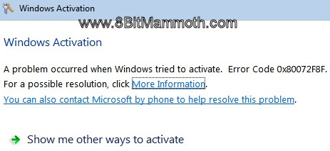 Windows Activation error 0x80072F8F