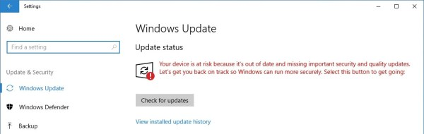 Windows Update Your device is at risk