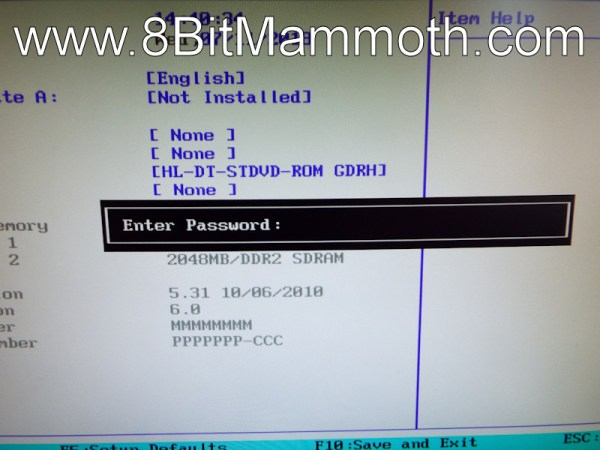 dx2420 bios password