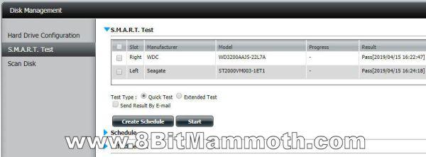 D-Link DNS-320 hard disk S.M.A.R.T. test