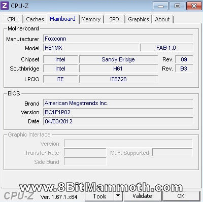 CPU-Z Foxconn H61MX motherboard