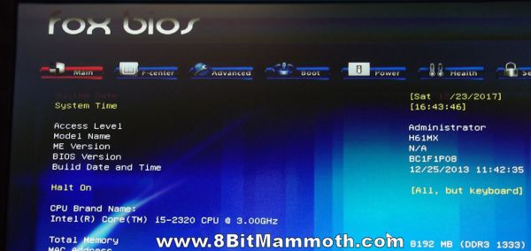 Photo of H61MX BC1F1P08 bios info