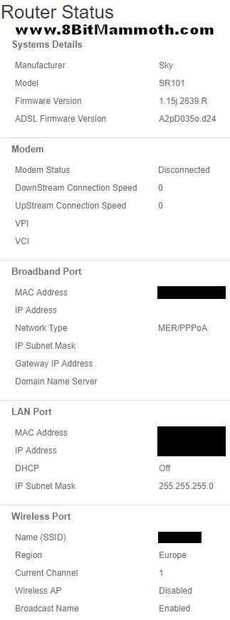 SR101 router status