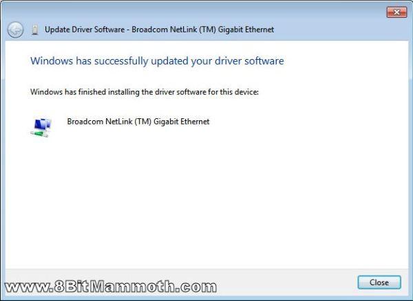 Broadcom Netlink Gigabit Ethernet driver installed screenshot