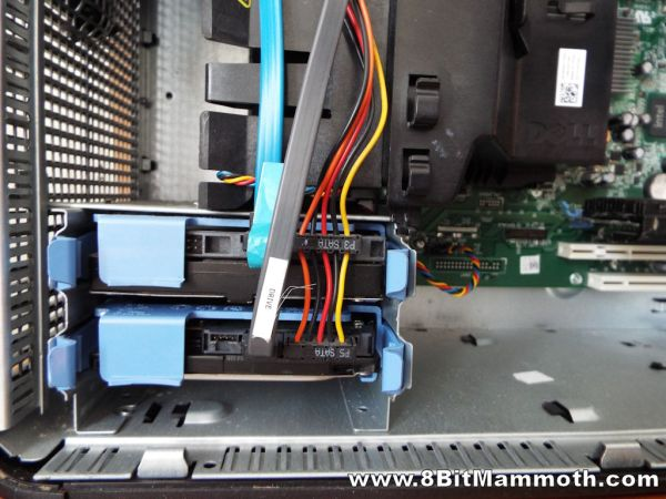 Hard Disks in the Lower Drive Bays of a Dell Optiplex 380 Mini Tower Computer