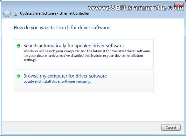 How do you want to search for driver software screenshot