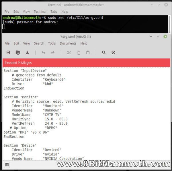 terminal xorg configuration edit screenshot