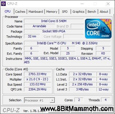 CPU-Z EliteBook 8440p CPU details screenshot