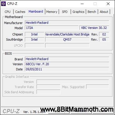 CPU-Z EliteBook 8440p Motherboard screenshot