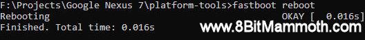 fastboot reboot