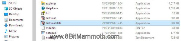 Edited screenshot showing files in a directory