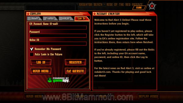Where you type log in details for Red Alert 3