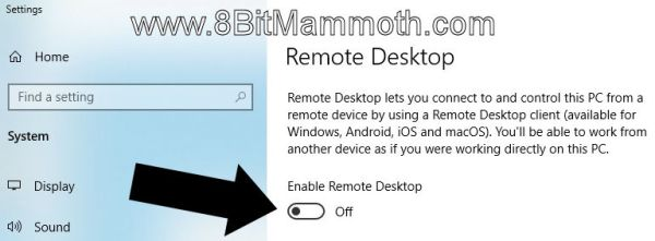 Screenshot of option to enable remote desktop