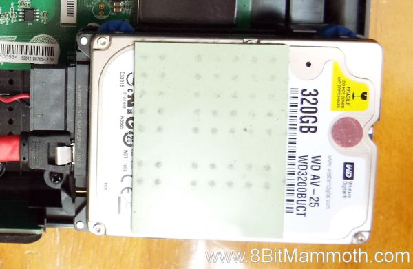 Close up photo of hard drive in set top box