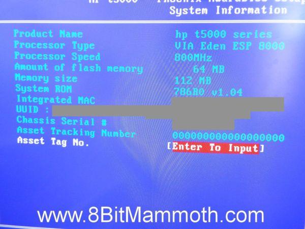 A BIOS screen on a t5520 thin client