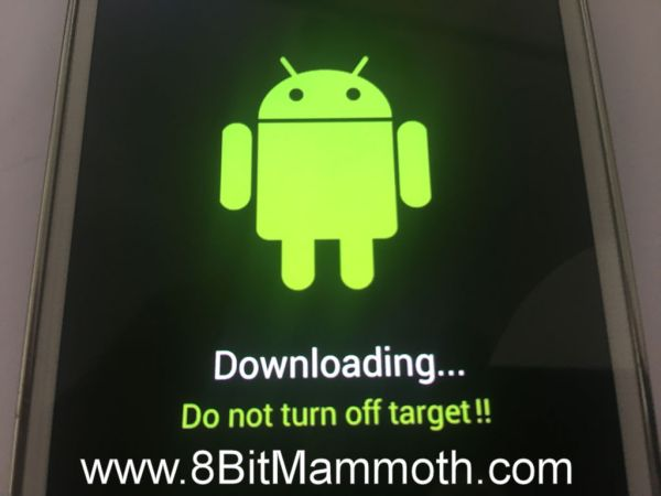 Photo showing download mode on a G900T phone