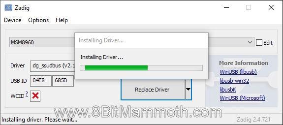 A screenshot of a driver installation